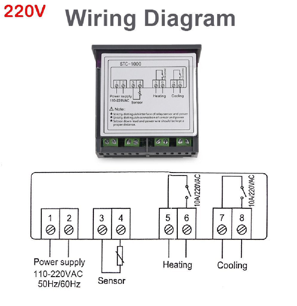 Led Digital Temperature Controller Stc 1000 12v 24v 220v 220 Vac Wiring Thermoregulator Thermostat With Heater And Cooler Home Improvement