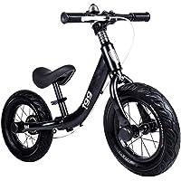 Draisiennes Velo sans pedale Balance Bike avec Frein à Main - Vélo à Poussoir pneumatique avec siège en Acier, 32 cm (12 po), Noir