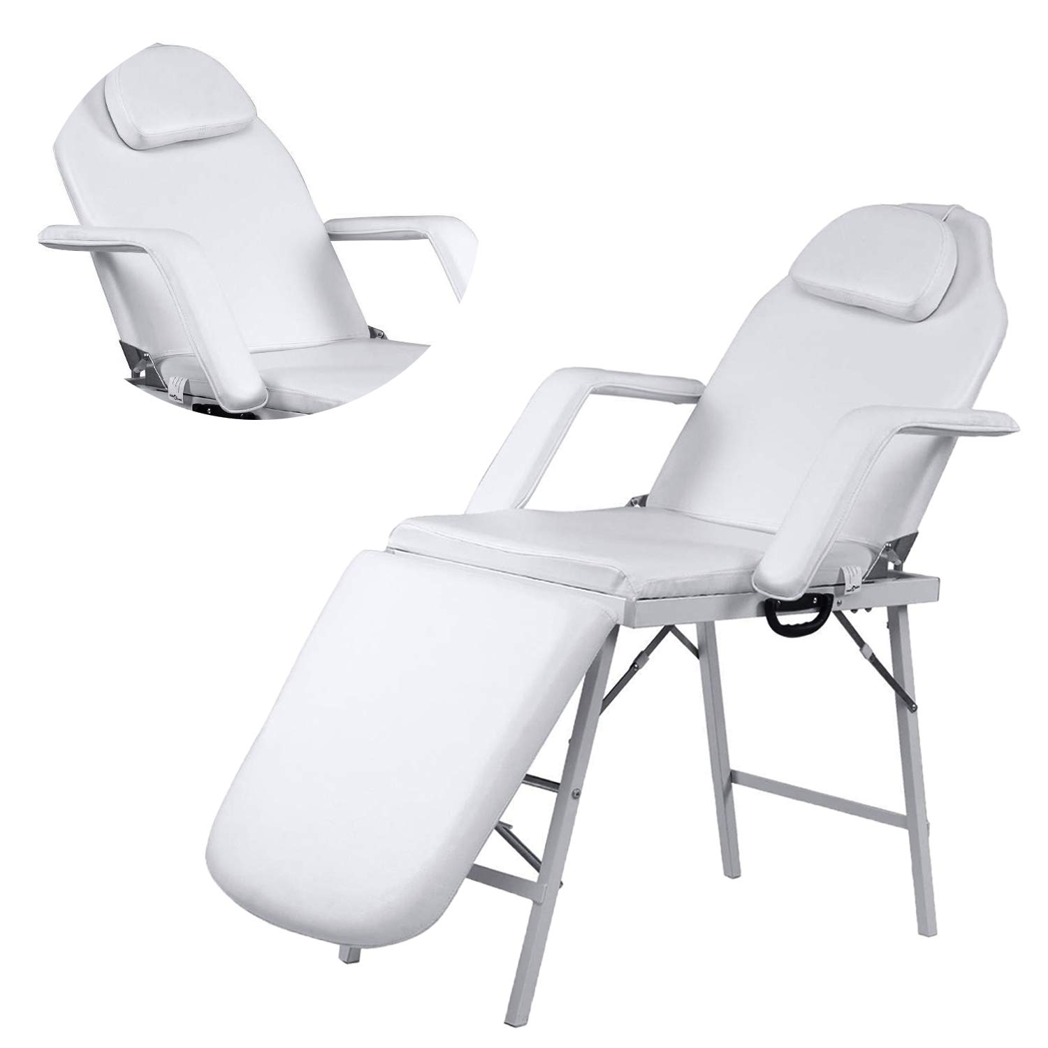 73'' L Adjustable Barber Spa Salon Massage Bed Facial Beauty Tattoo Chair White