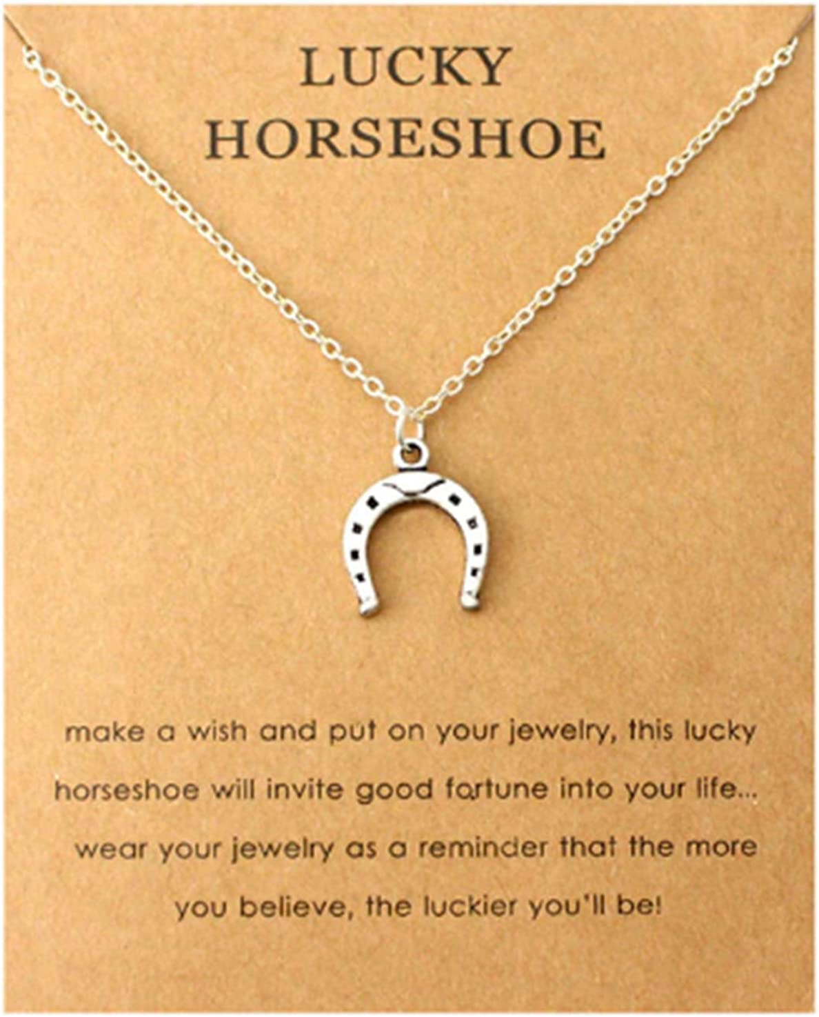 Collar de herradura de la suerte para niñas, colgante de plata, joyería inspiradora