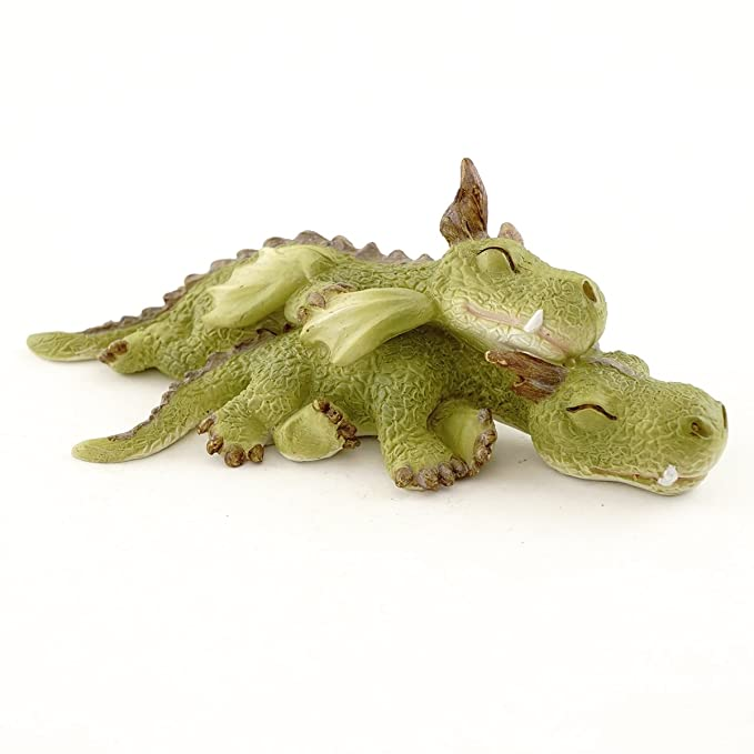 Top Collection Miniature Fairy Garden and Terrarium Mini Dragons Cuddling Figurine