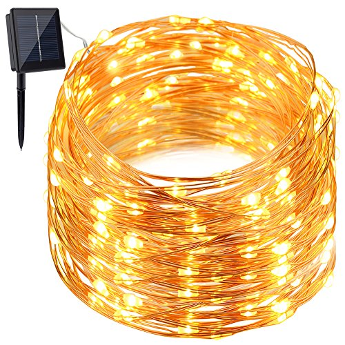 GDEALER Solar String Lights 150LED 49ft Waterproof Starry Copper Wire String Lights Ambiance Lighting for Outdoor Landscape Patio Garden Home Christmas Party Wedding Warm White (1)