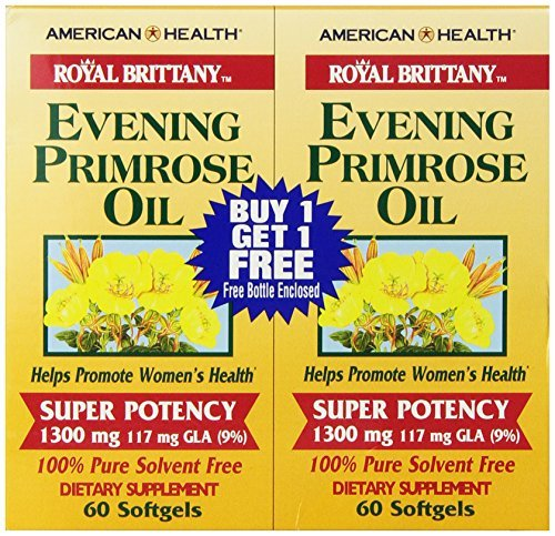 (Royal Brittany, Evening Primrose Oil, 1300 mg, 2 Bottles, 60 Softgels Each by American Health)