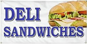 Vinyl Banner Multiple Sizes Deli Sandwiches Food Fair Truck Restaurant Restaurant & Food Outdoor Weatherproof Industrial Yard Signs Blue 4 Grommets 24x48Inches