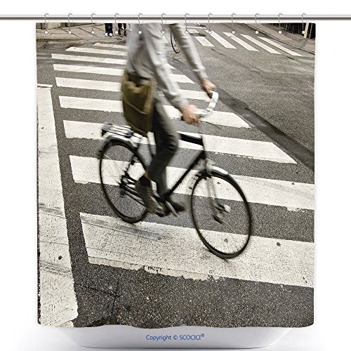 Zombie Cyclist Costume (Mildew Resistant Shower Curtains Traffic With Speedy Cyclist Passing Crosswalk 39895024 Polyester Bathroom Shower Curtain Set With Hooks)