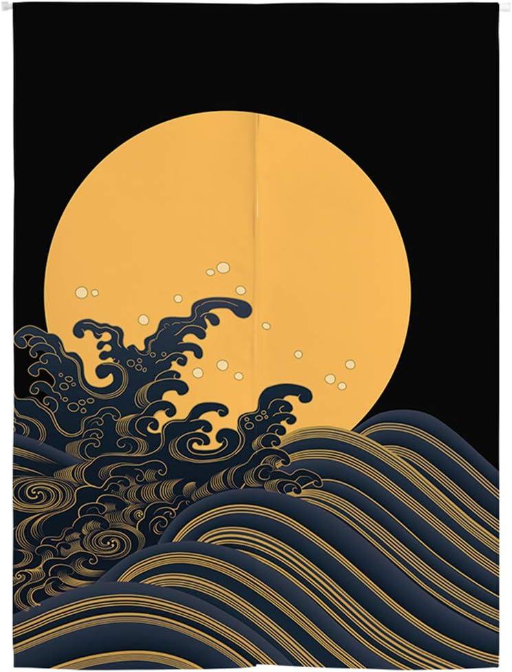 BAIHT HOME Japanese Noren Doorway Curtain Tapestry Hokusai Ukiyoe Moon Door Curtain Room Divider Bistro Decor, 33 x 47 inches