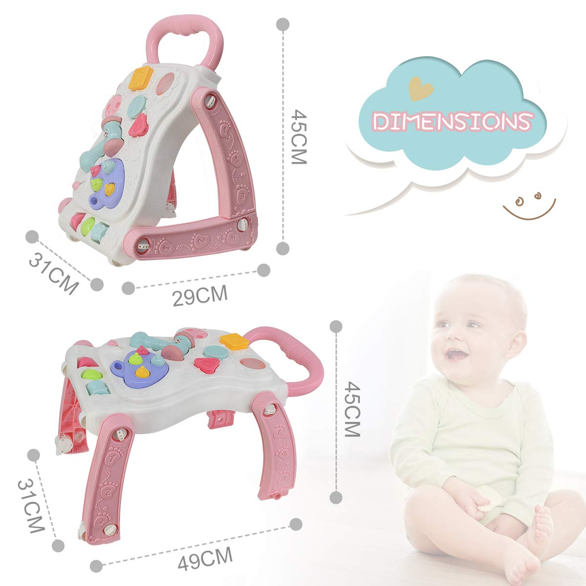 Pink FRUITEAM 2 in 1 Baby Sit-to-Stand Walker Entertainment Table Push Toy for Toddlers Interesting Whack-a-mole Game Activity Center