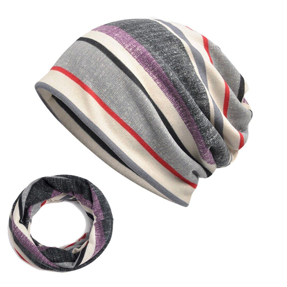 Amorar Unisex Slouchy M/ützen Skull Cap Baumwolle Kopftuch Schal Turban Headwear gestreiften Chemo Krebs Kopfkappe Haarausfall Verpackung Multifunktion f/ür M/änner Frauen,EINWEG Verpackung