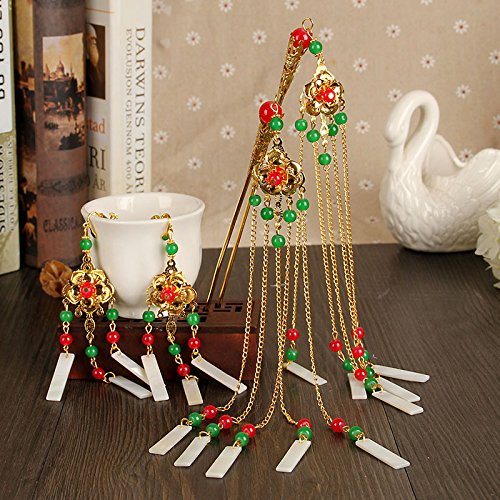 - Feather headdress ice jewelry bride red pomegranate shape jade and gold tassel earrings classic Bob hair accessories sets
