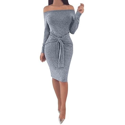 Ladies Dress, Women Vogue Elegant Long Lantern Sleeve Waist Belt Sexy Slim Skirt Dress (