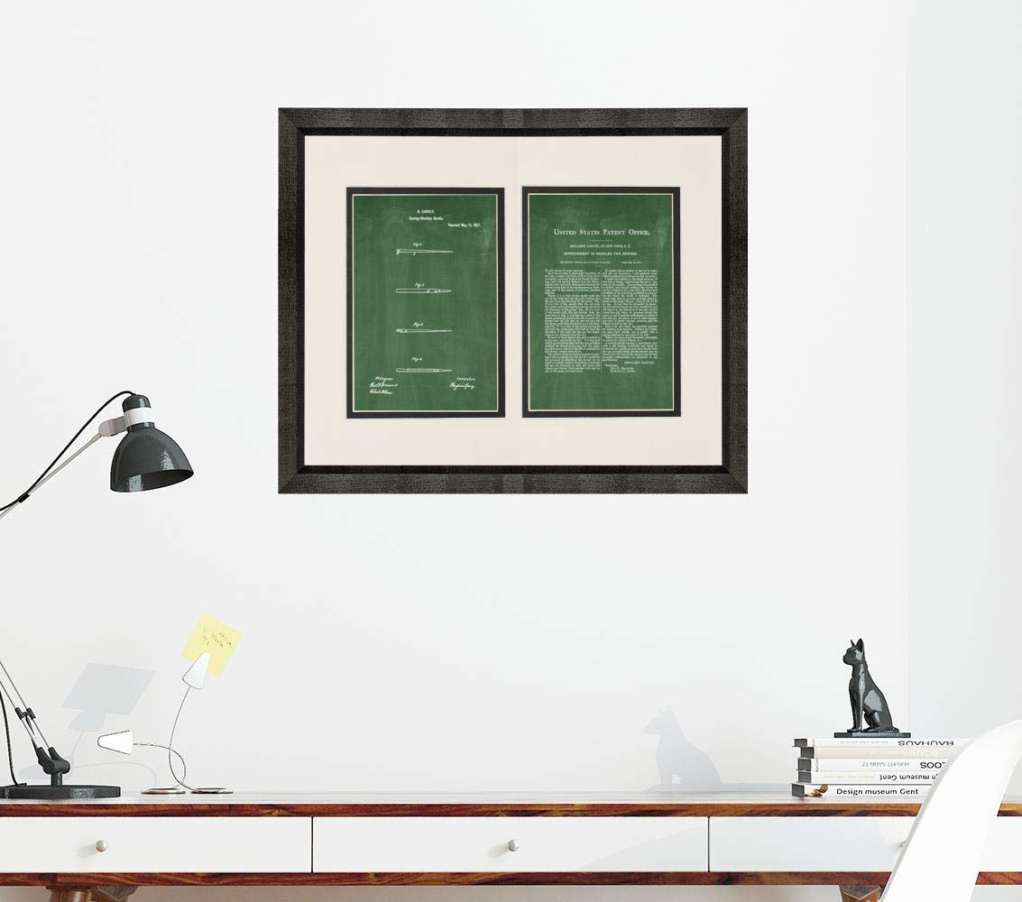 Sewing Needle Patent Art Green Chalkboard Print in a Beveled Black Wood Frame with a Double Mat (20'' x 24'') M15827 by Frame a Patent (Image #3)
