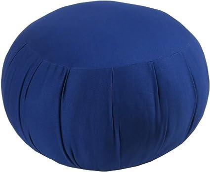 Round Cotton Zafu Royal Blue with Organic Buckwheat