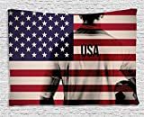 Sports Decor Tapestry, Composite Double Exposure Image of A Soccer Player and American Flag National Usa Run, Wall Hanging for Bedroom Living Room Dorm, 60 W X 40 L, Beige Blue and Red