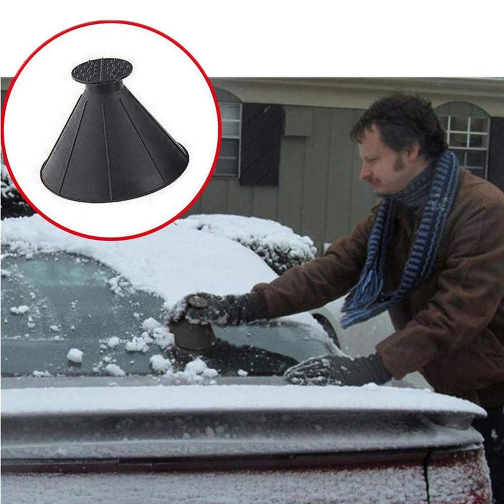 Windshield Ice Scraper Snow Shovel Tool, Scrape A Round Magic Cone-Shaped by PSFS (Black)