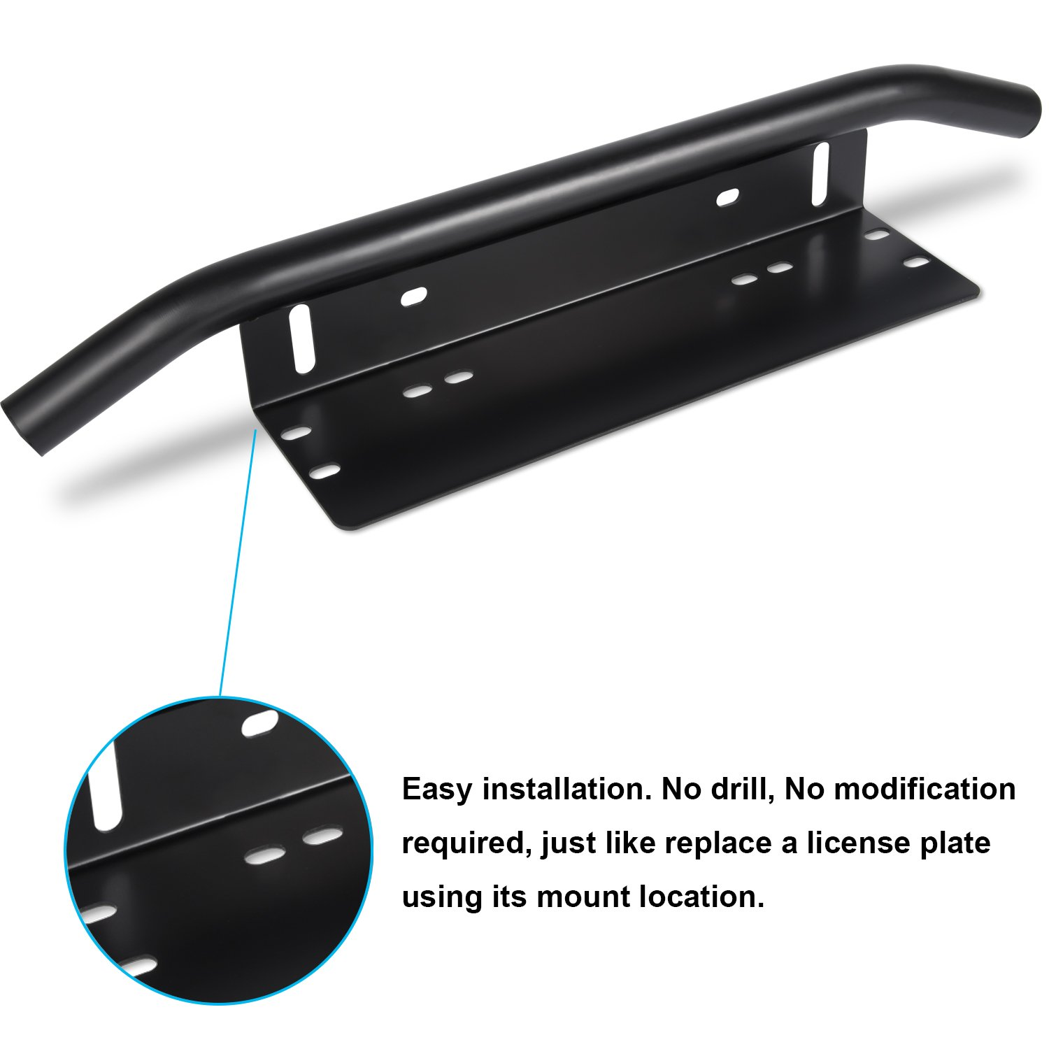 Danti Bar Style Front Bumper License Plate Mount Bracket Holder for Ford F150 F250 F350 Dodge Ram 1500 2500 3500 Chevy Silverado 1991-2018