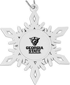 Georgia State University |Snowflake Pewter Ornament|White