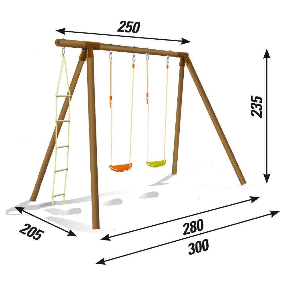 """/Columpio de madera /""""Fiordaliso/"""":2/columpios con escalera de cuerda New Plast ALS1349/"""