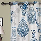 IYUEGO Oriental Classic Blue and White Pottery Grommet Top Lined Blackout Curtains Draperies With Multi Size Custom100″ W x 108″ L (One Panel)
