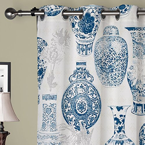 IYUEGO Oriental Classic Blue and White Pottery Grommet Top Lined Blackout Curtains Draperies With Multi Size Custom100″ W x 108″ L (One Panel) For Sale