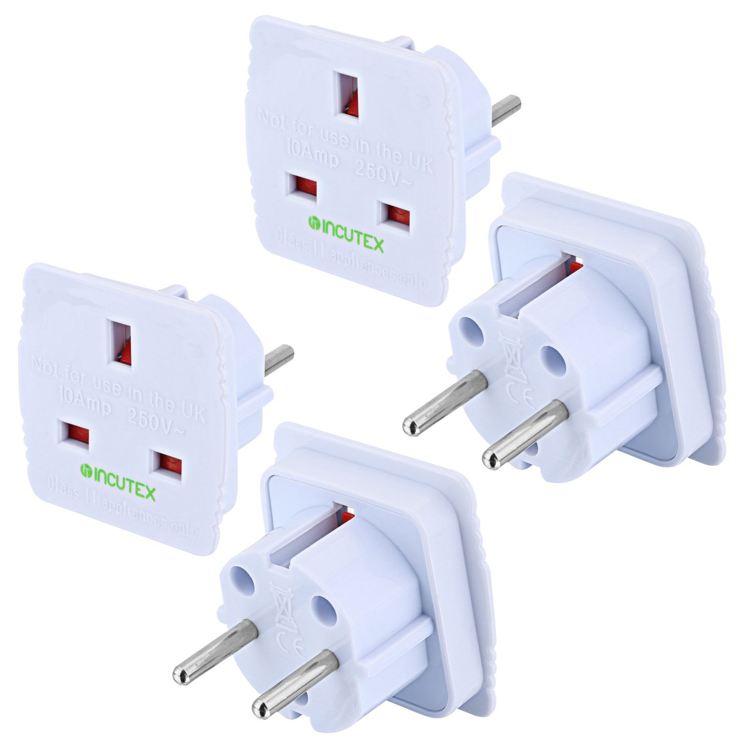 Adaptador Enchufe ingl/és a espa/ñol Incutex 2X Adaptador UK Espa/ña Adaptador UK EU Blanco