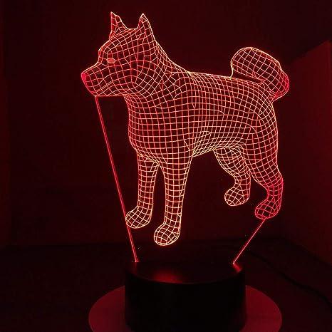 e82145a824 Creativo 3D Perro Luz de Noche 7 Colores que Cambian USB Poder Touch Switch Ilusión  óptica