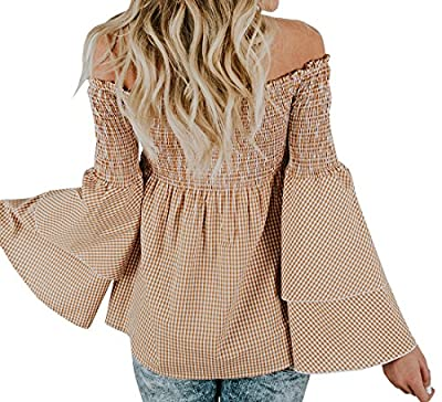 Chellysun Women Plaid Off Shoulder Ruffle Tops Long Sleeve Casual Blouse Shirts