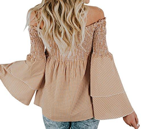 Chellysun Women Plaid Off Shoulder Ruffle Tops Long Sleeve Casual Blouse Shirts