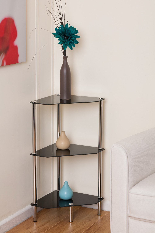 Black Glass Chrome And Steel 3 Tier Corner Table Shelf Unit: Amazon.co.uk:  Kitchen U0026 Home