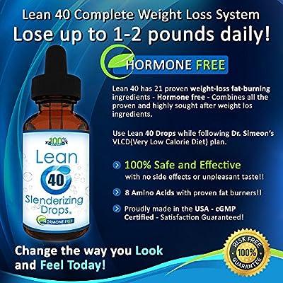 Lean 40 HCG Slenderizing Drops Hormone-Free 2 oz Bottle with Diet Plan