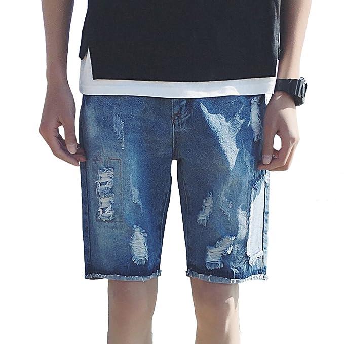 Yujeet Hombre Clásico Jeans Shorts Rotos Ripeado Destruido Slim Fit Straigth Bermudas Vaqueros Cortos de Playa wNmcqmx3