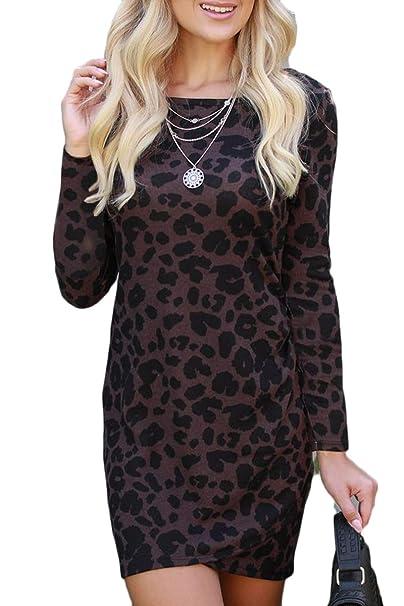 9d06b84a5567 LEISUP Woman's Retro Vintage Leopard Print Bodycon Mini Dress for  Club,Khaki S