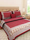 Rajasthani Tradition 180 TC Cotton Double Bedsheet with 2 Pillow Covers - Red