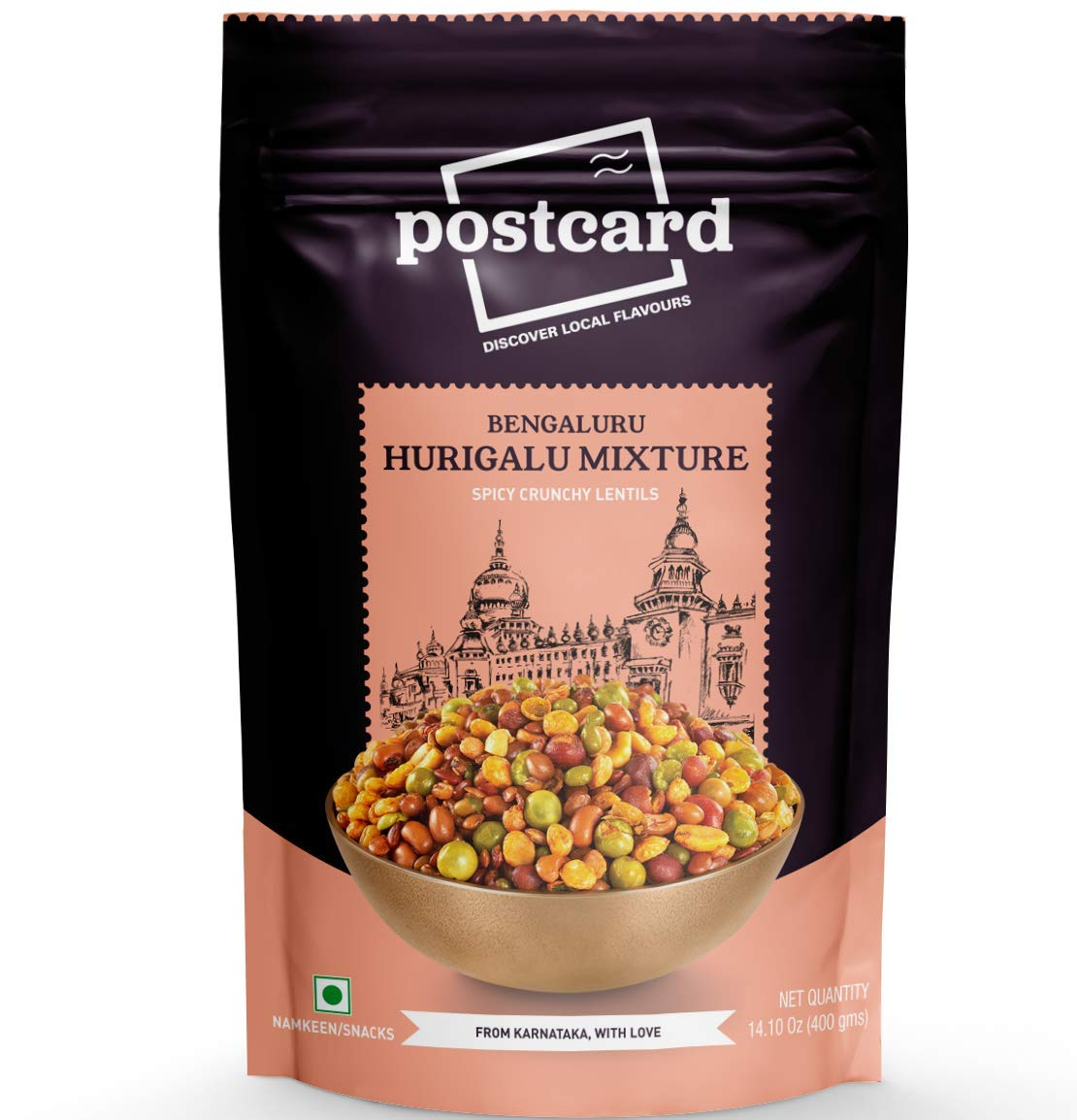 Postcard Bengaluru Hurigalu Mixture | Specialty Indian Food made in Karnataka (India) | Crunchy Spicy Lentils Mixture Snack | Spicy Mixture with Peanuts | 14.10 Oz/400 Gms