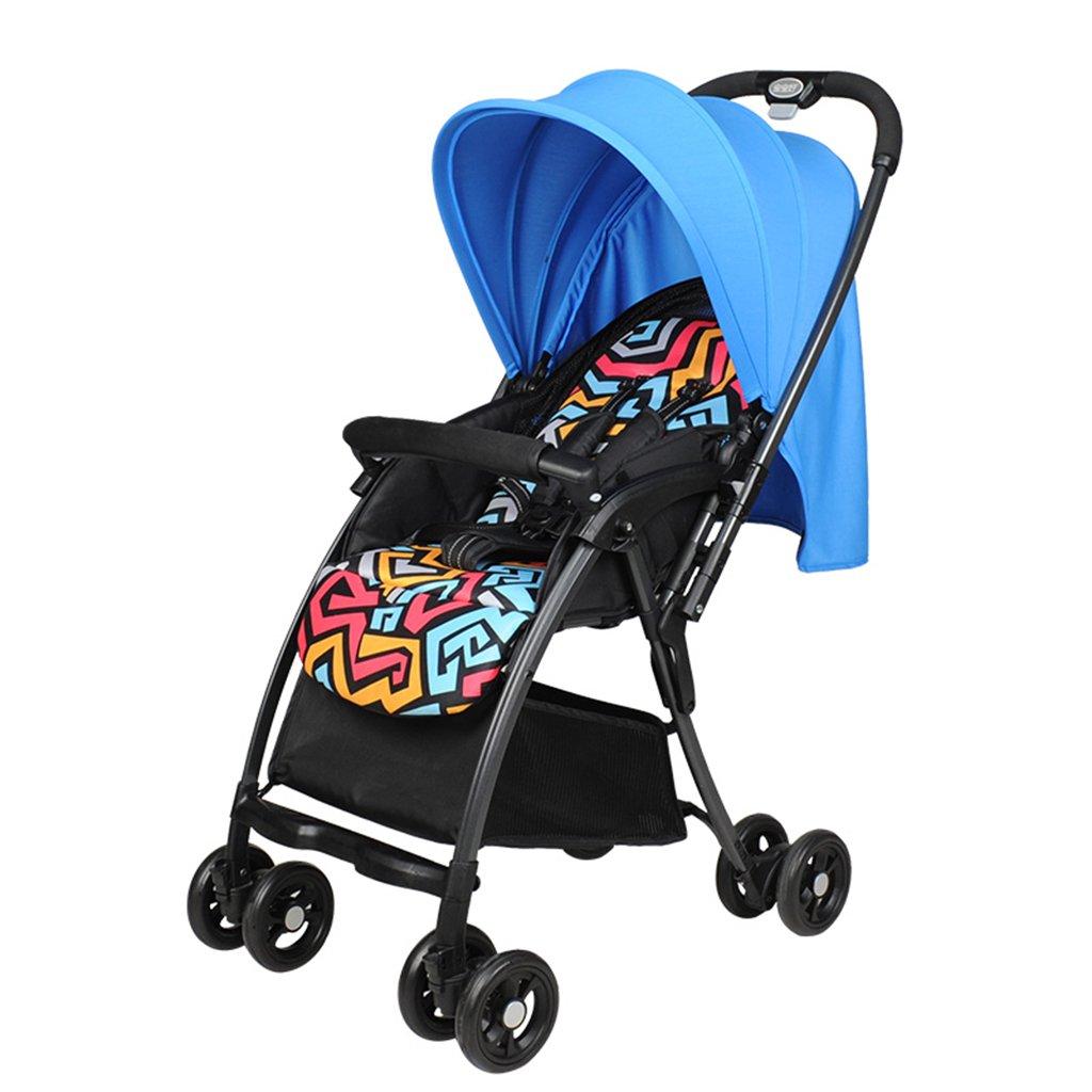HAIZHEN マウンテンバイク ベビーカートは座ることができる/軽量折りたたみ可能なアルミニウム合金フレームを横たえて二方向のプッシュロッドフルカバー調節可能な天幕多機能日保護アンチUVベビーキャリッジ87.5 * 48 * 102cm 新生児 B07DLBMHL2 青 青