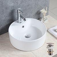 Seasofbeauty Luxueuse Vasque à Poser en Céramique Lavabo Ronde Blanche avec Bonde Pop-up (41x41x14cm)