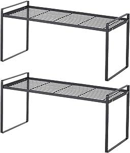 2 Pack Stackable Cabinet Shelf Kitchen Counter Shelf Organizer 20'' Sturdy Cupboard Stand Pantry Shelf Kitchen Shelves Space Saving Bedroom Bathroom Countertop Storage Racks, Rust Resistant Metal Wire