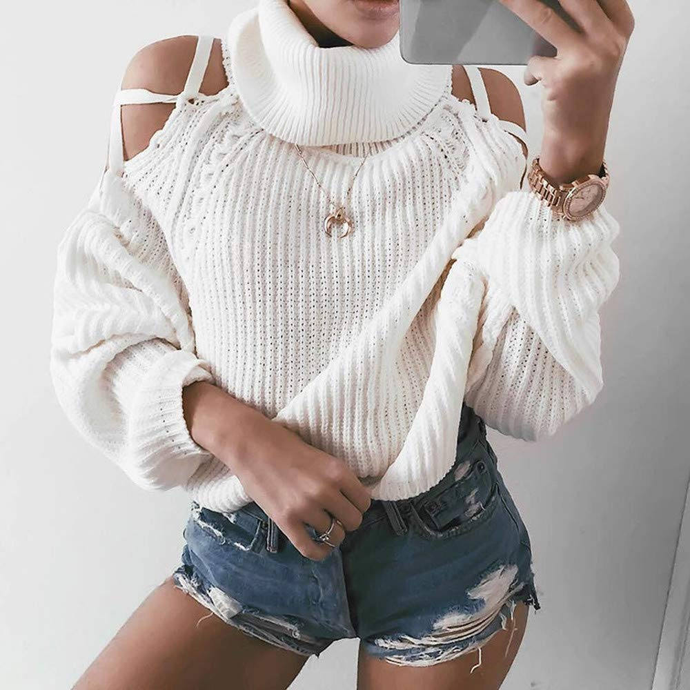 Women White O-Neck Long Sleeve Knitting Pullover Knitwear Blouse Sweater Tops Strapless Shoulder