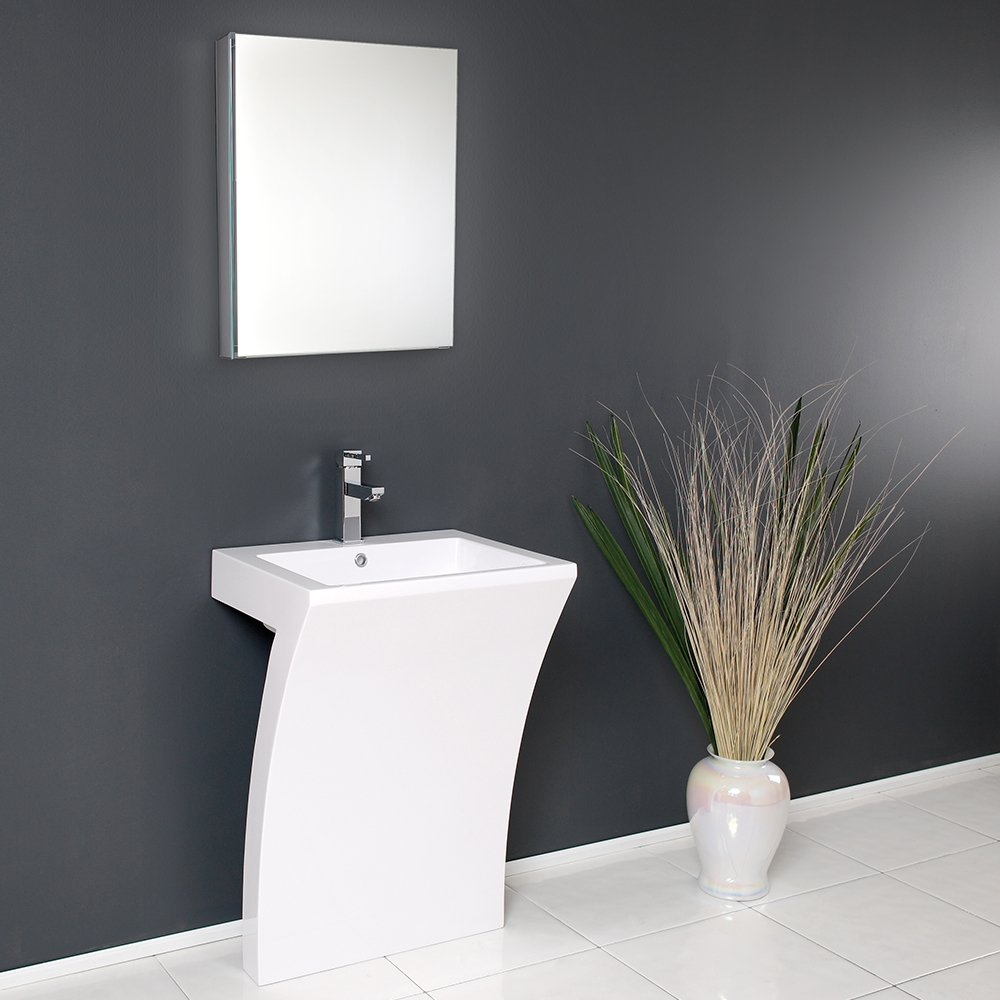Fresca Bath FVN5024WH Quadro Pedestal Vanity Sink With Medicine Cabinet,  White   Bathroom Vanities   Amazon.com