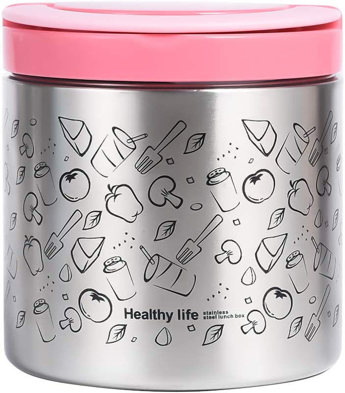 Vacuum Insulated Food Jar 22 Ounce Lunch Thermos with Handles, Portable Stainless Steel Lunch Containers, Stay Hot for 5h Cold for 10h, Pink