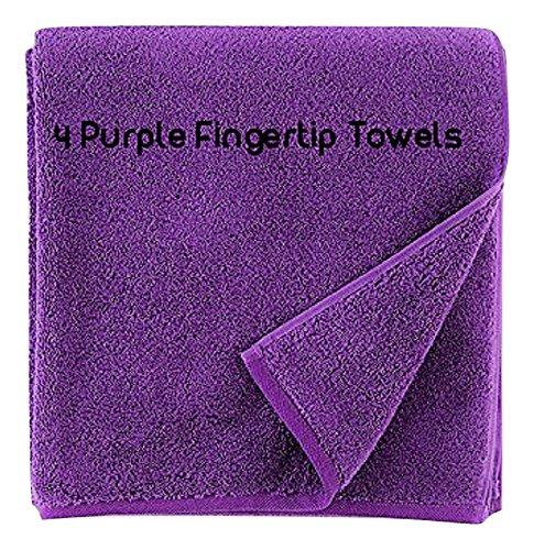Show Car Guys 4 Pack 11 x18 Purple Fingertip Towels 100% Cotton- Terry-Velour