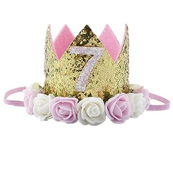 Missley Corona Rosa Flor Corona de Oro Corona de cumpleaños Princesa bebés Corona Cabeza Accesorios de Pelo (7)