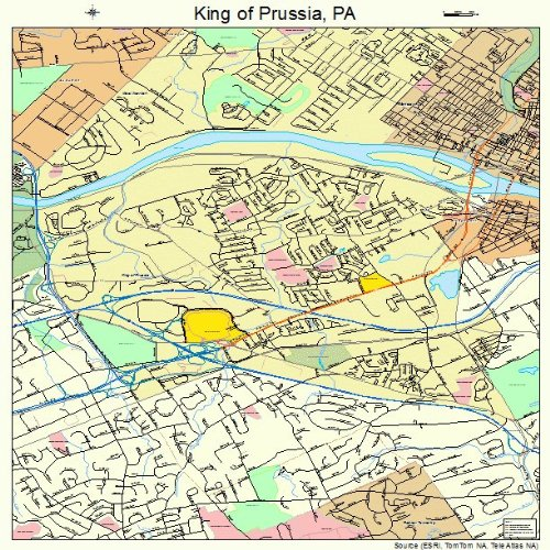 Large Street & Road Map of King of Prussia, Pennsylvania PA - Printed poster size wall atlas of your - Of Map King Prussia