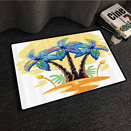 Palm Tree Decor Bedroom Doormat Cartoon Tropical Island with Hawaiian Palm Trees Torch Seagulls at SunBlue Orange Non-Slip Door mat pad Machine can be Washed W24 - Sea Torch