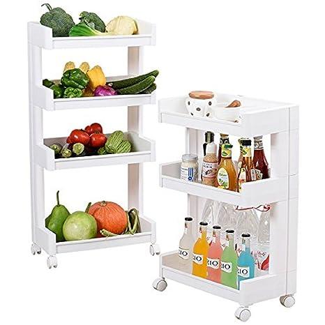 Krevia 4 Tiers Rolling Wheels Plastic Home Kitchen Organizer Utility Baskets Service Cart Storage Shelves Medium White