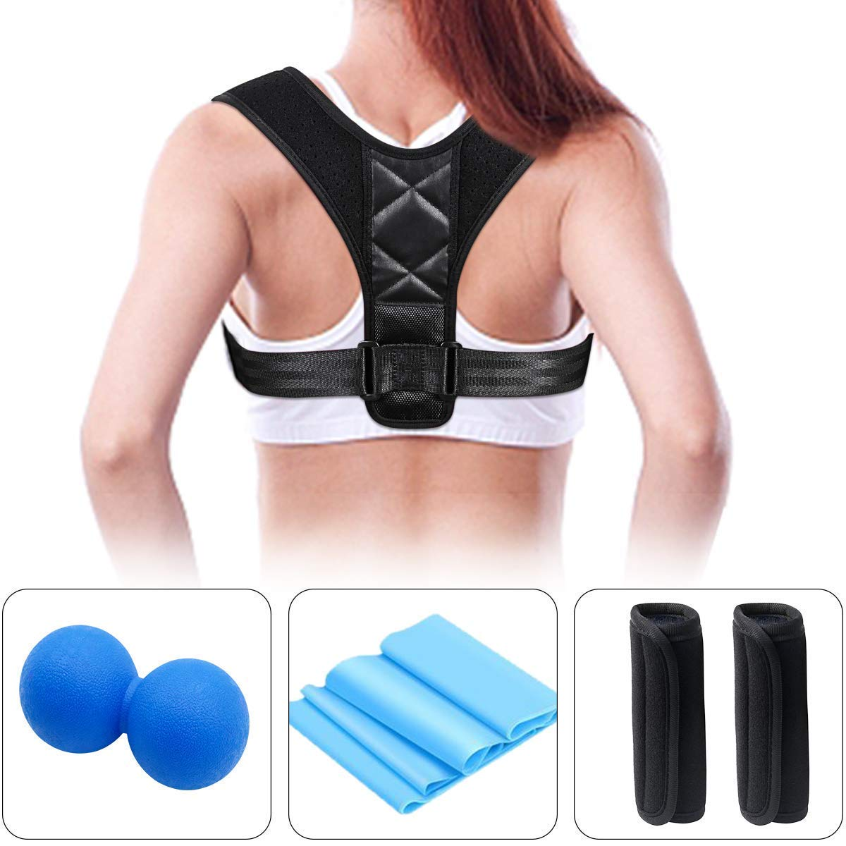 INKERSCOOP Body Wellness Posture Corrector Women Men+Resistance Bands+Massage Lacrosse Balls +2 Soft Armpit Pads to Improve Back Posture Neck Straightener Relieve Myofascial Exercise Bands