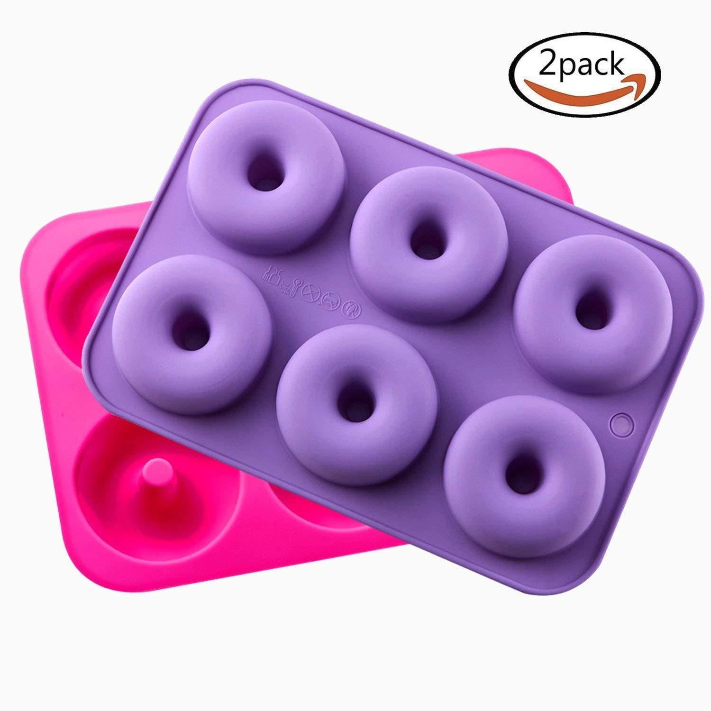 Donut - Juego de 2 moldes de silicona para horno, antiadherentes ...