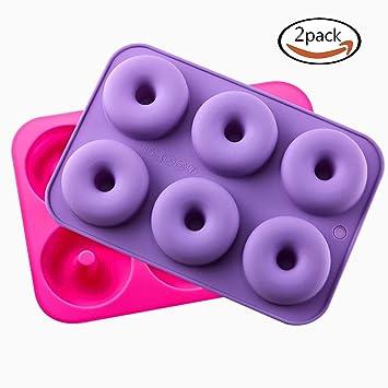Donut - Juego de 2 moldes de silicona para horno, antiadherentes, fácil de hornear