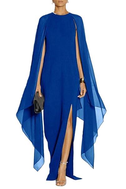La Mujer Es Elegante Cuello Redondo Largo Vestido De Fiesta De Gasa Patchwork Slit Blue L