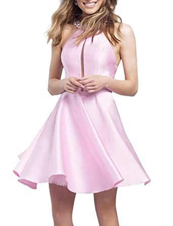 JoJoBridal Womens Pure Color Satin Short Halter Beaded Prom Dresses Pink size 2