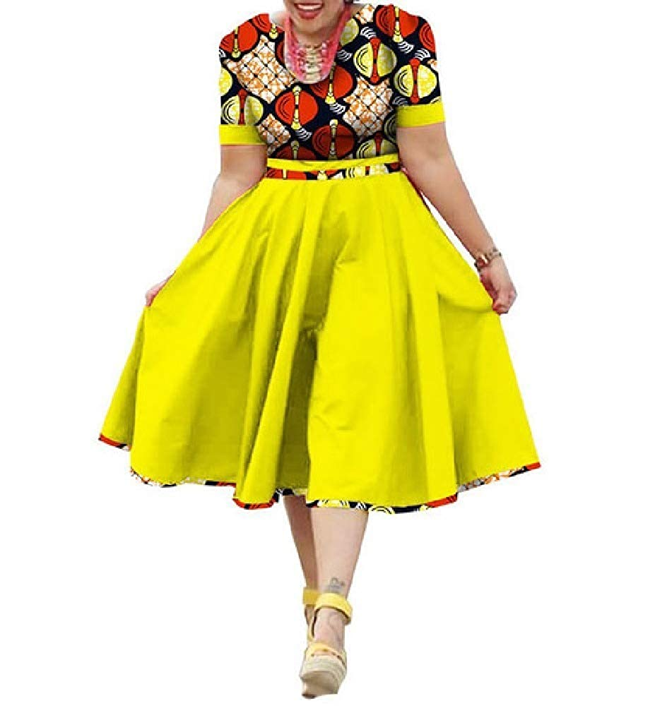 12 Mfasica Women Plus Size Midi Floral African Print MidLong Swing Dresses
